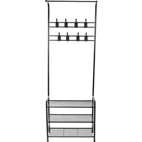 Iron Coat Rack Landing Shoes Clothing Holder Hanging Stand 63.5*29.5*180cm Black