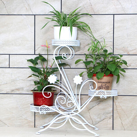 Iron Flower Rack, Plant Shelf, 3 Tiers, Half-Round, Garden Plant Stand for Garden, Balcony or Patio, White