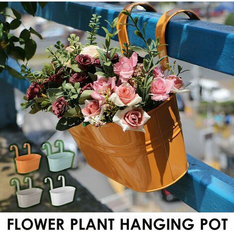 Iron Hanging Plant Balcony Flower Pot Railing Fence Outdoor Garden Home Decor (Orange)