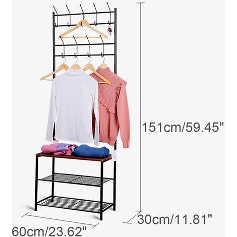 Iron Hat Coat Shelf Shoe Rack Stand Garment Hanger Hooks 60x30x151cm Black