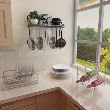 """main image of """"Iron Kitchen Hanging Pot Pan Saucepan Rack Wall Shelf Storage Holder 10 Hooks"""""""