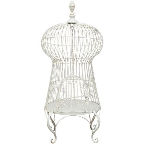 Iron made antiqued white finish W50xDP50xH92 cm sized ground cage