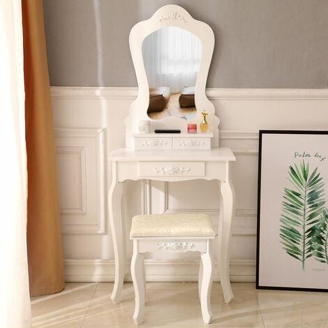 Irregular Single Mirror 3 Drawer Dressing Table Home livingroom Furniture with Stool White