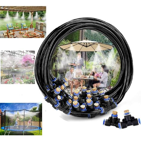 Irrigation system Cooling system, Outdoor misting system, Misting kit Ideal for Gazebo Networks Pergolas Swimming pool (10 meters)