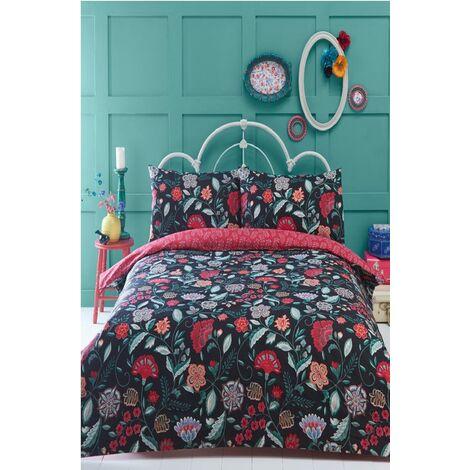 Irvine Black Double Duvet Cover Set Bedding Retro Quilt Bed Set