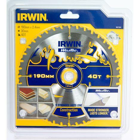 IRWIN 1897384 Disco Sierra Circular WELDTEC 190MM/40T
