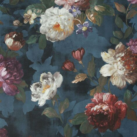 Isabelle Floral Wallpaper Superfresco Navy Flower Paste The Wall Textured