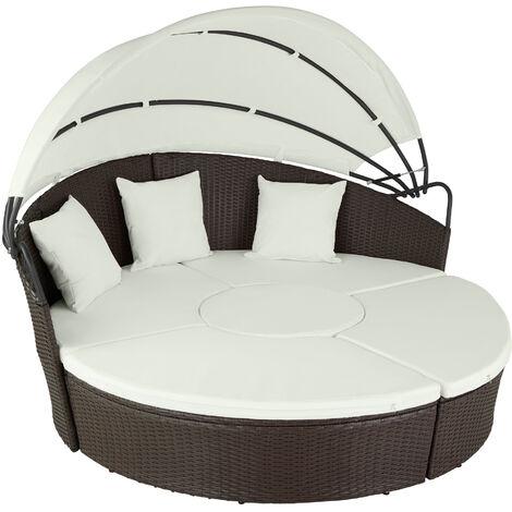 Isla de ratán y aluminio - mobiliario imitación mimbre, muebles de ratán sintético con cojines y fundas, asientos de jardín con parasol