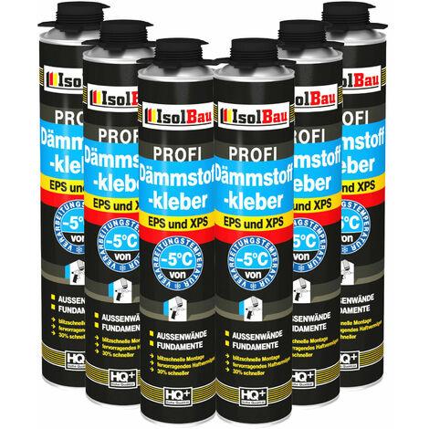 Isolbau Adhésif d'isolation Mousse adhésive 6 x 750 ml Adhésif de périmètre EPS XPS haute qualité
