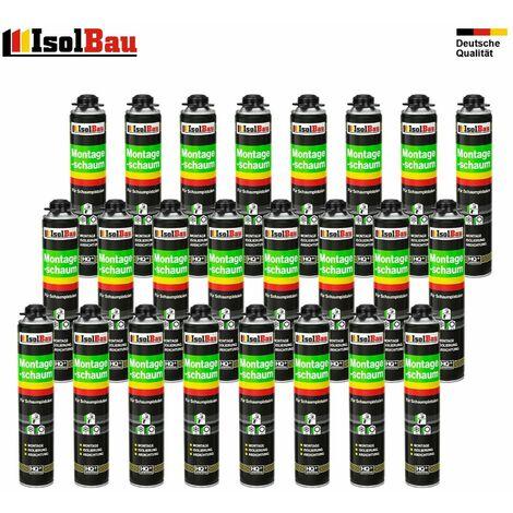 Isolbau B2 Lot de 24 flacons de 750 ml de mousse expansive monocomposant base de polyuréthane pour pistolet mousse