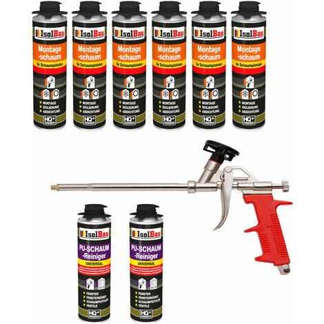 Isolbau B2 Mousse 1K de montage pour pistolet 6 x flacon 500 ml de mousse de polyuréthane Avec 2 nettoyants et 1 pistolet