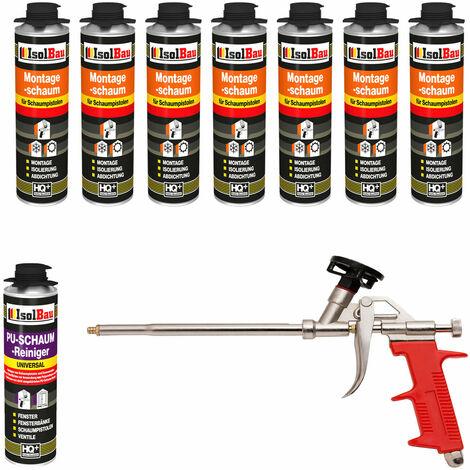 Isolbau B2 Mousse 1K de montage pour pistolet 7 x flacon 500 ml de mousse de polyuréthane Avec 1 nettoyant et 1 pistolet