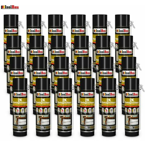 Isolbau B2 Mousse de montage 2 K 24 x 400 ml mousse d'adaptation en mousse de polyuréthane