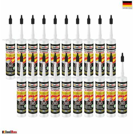 Isolbau Colle de montage FIX-POWER colle de construction 20 x 480g cartouche blanche qualité 200kg / 10cm
