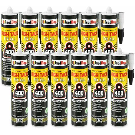 Isolbau Colle de montage High Tack 12 x 470g Hybrid MS Polymer FIX ALL Sealant 400kg/10cm²