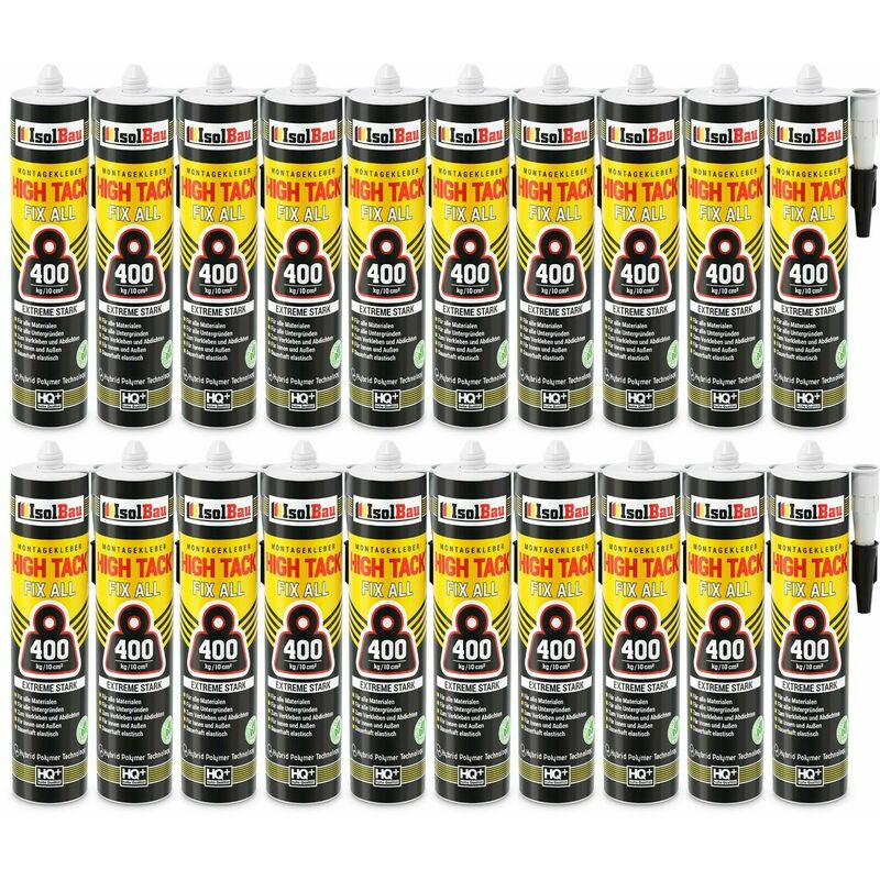 Colle de montage High Tack 20 x 470g Hybrid MS Polymer FIX ALL Sealant 400kg/10cm² - Isolbau