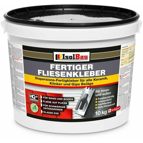 Isolbau Colle pour carrelage intérieur et extérieur 10 kg de colle prête à l'emploi Mortier Flex Blanc Colle pour carrelage