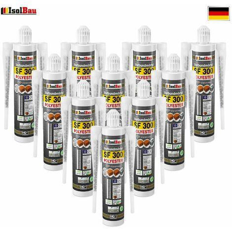 Isolbau Mortier composite Mortier d'injection 10 x 300 ml Mortier d'assemblage Mortier adhésif 20 x Mélangeur