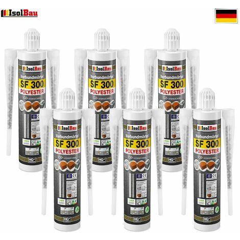 Isolbau Mortier composite Mortier d'injection 6 x 300 ml Mortier d'assemblage Mortier adhésif 12 x Mélangeur
