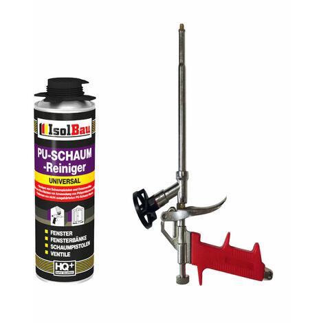 ISOLBAU SET 1 x Schaumpistole Metall + 500 ml PU Reiniger TOP