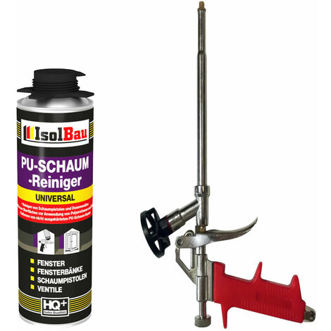 ISOLBAU SET 1 x Schaumpistole Metall + 500ml PU Reiniger