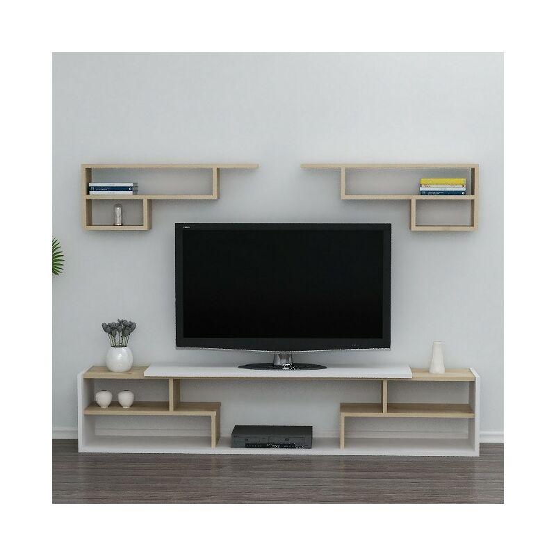 Istanbul TV-Schrank mit Regal, Tueren, Regalen - aus dem Wohnzimmer - Weiss, Eiche aus Holz, 180 x 29,5 x 36,8 cm