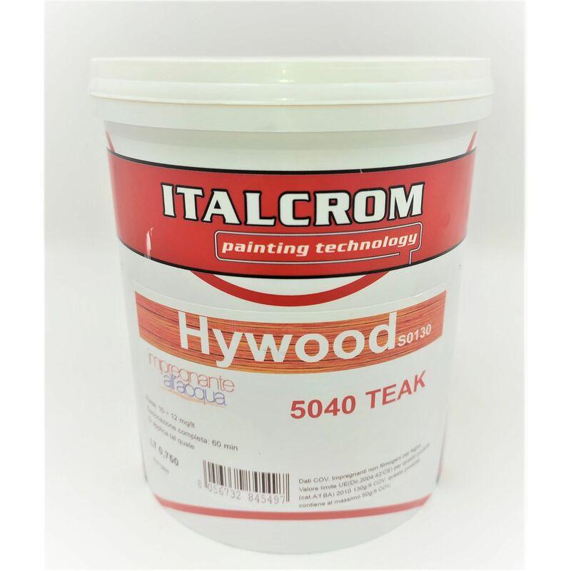 Image of hywood impregnante protettivo per legno all'acqua 0,750 lt teak 5040 vernice inodore - Italcrom
