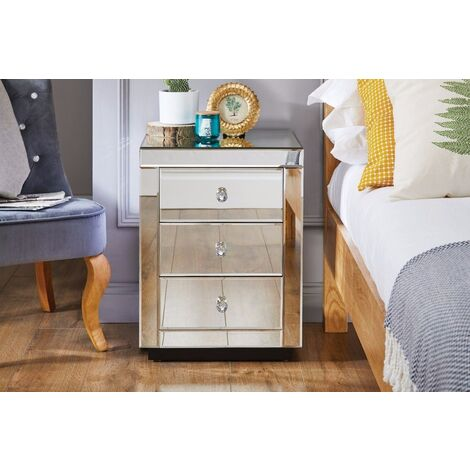 Italian Mirrored Bedside Table