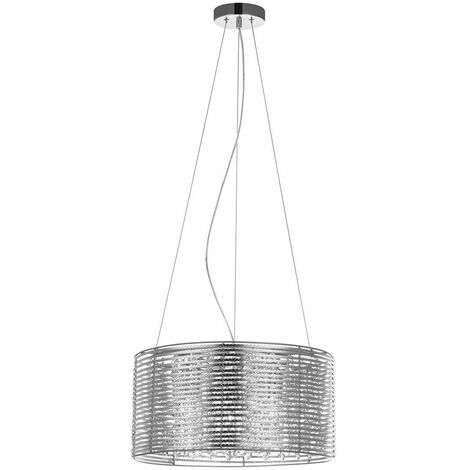Italux Alpio SL - Modern Hanging Pendant Chrome 3 Light with Aluminum, Silver Shade, E14