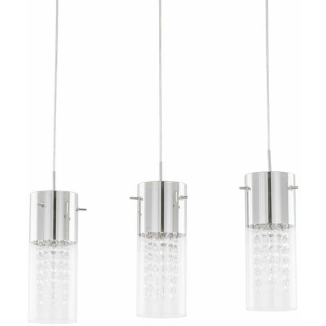 Italux Marqu - Hanging Pendant Chrome 3 Light with Clear Shade, E14