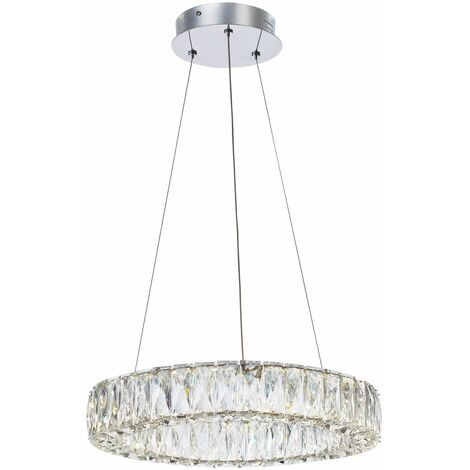 Italux Pearl - Modern LED Hanging Pendant Chrome, Warm White 3000K 1680lm Dimmable