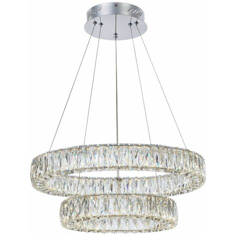 Italux Pearl - Modern LED Hanging Pendant Chrome, Warm White 3000K 4032lm Dimmable