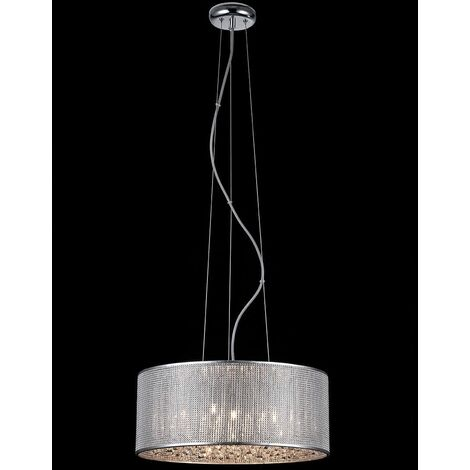 Italux Quartz II - Modern Hanging Pendant Chrome 6 Light with Silver Shade, G9