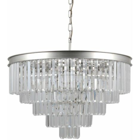 Italux Verdes - Hanging Pendant Silver 11 Light with Crystal Glass Shade, E14