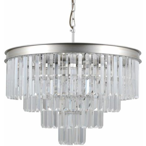 Italux Verdes - Hanging Pendant Silver 8 Light with Crystal Glass Shade, E14