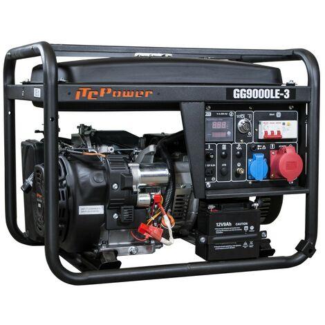 ITCPOWER -Generador Gasolina 7,5/8,3Kva (380v) con motor ITCPower IC420E de 15 hp. Arranque eléctrico. Panel digital 5 funciones