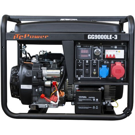 ITCPOWER -IT-GG9000LE-3 Generador Gasolina 7,5/8,3Kva (380v) con motor ITCPower IC420E de 15 hp. Arranque eléctrico. Panel digital 5 funciones