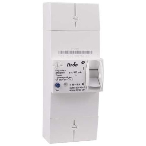 Itron 400016 Disjoncteur de branchement EDF 2P 15-45A - Diff 500 mA - instantané - SDB II 500 45A