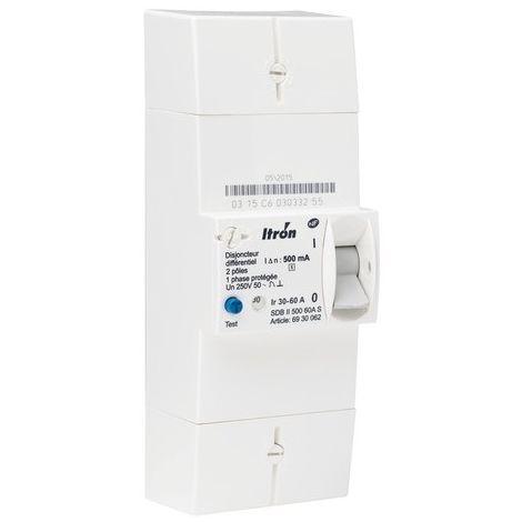 Itron disyuntor 400020 rama 60A EDF 2P - Dif 500 mA - selectivo - SDB II 500 60A S