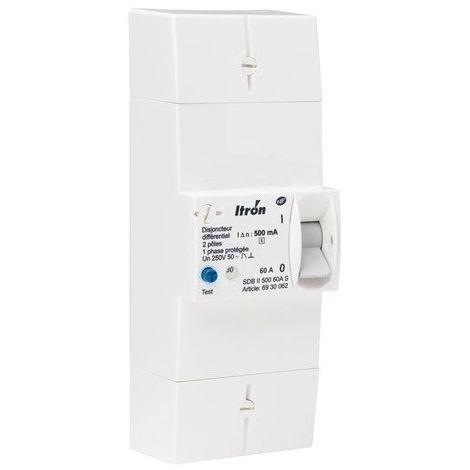Itron disyuntor 400022 rama 60A 2P - Dif 500 mA - selectivo - SDB II 500 MS 60A
