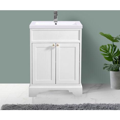 Ivory Floor Standing Bathroom Furniture Vanity Unit Cabinet with Basin 600mm