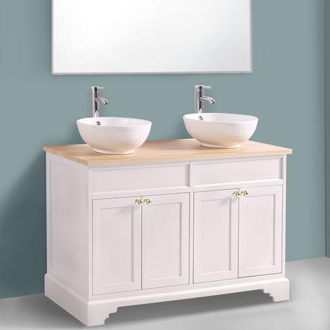 Ivory Floor Standing Bathroom Furniture Vanity Unit Cabinet with Countertop Basin 1200mm