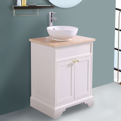 Ivory Floor Standing Bathroom Furniture Vanity Unit Cabinet with Countertop Basin 600mm
