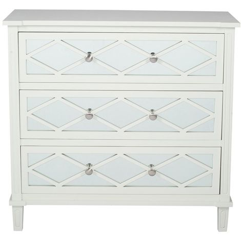 Ivory Mirrored Pine Wood 3 Drawer Wide Unit