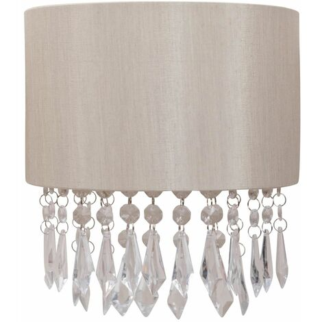 Ivory Pale Gold Silver Grey Fabric Wall Light Clear Jewelled Strings