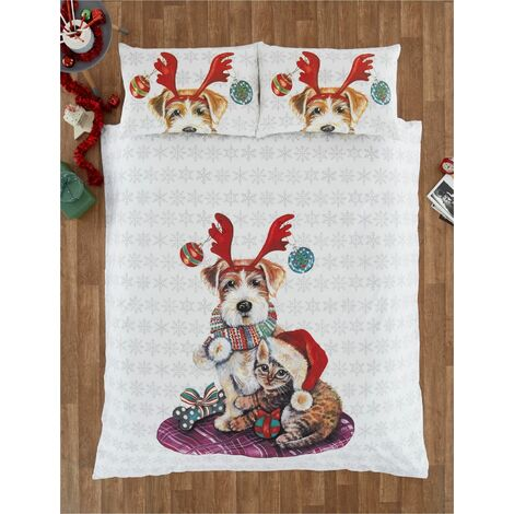 Ivy And Snowy Christmas King Size Duvet Cover Set Bedding Quilt Dog And Cat