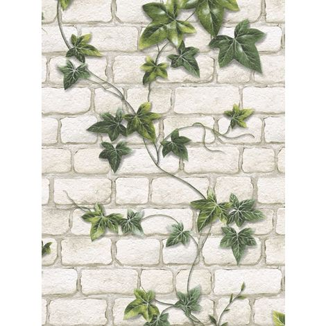 Ivy Brick Effect Wallpaper Stone Slate Textured Embossed White Green Modern