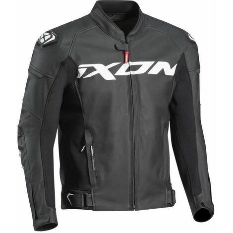 IXON Blouson moto cuir Sparrow - Homme - Noir et blanc