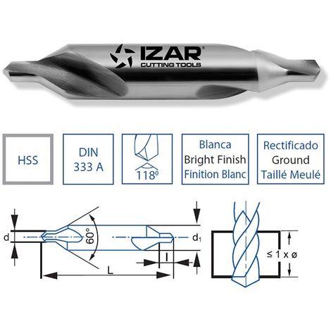IZAR 40016 - Broca hss DIN333a centrar 02.00x05.00 mm