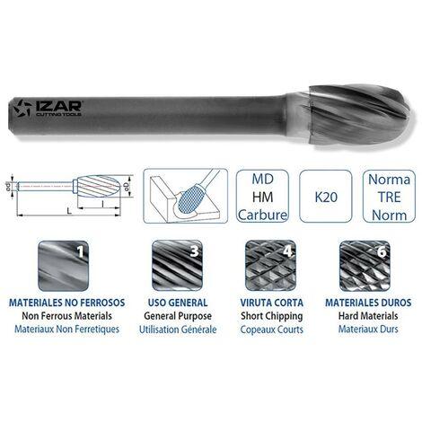 IZAR 44635 - fraise rotative pour métal dur ovale x12.70mm dent.1 06.00